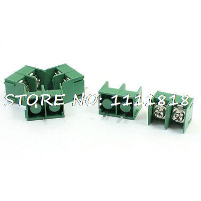 5Pcs 300VAC 10A 8.5mm Pitch PCB Mount 2P Screw Terminal Block Green