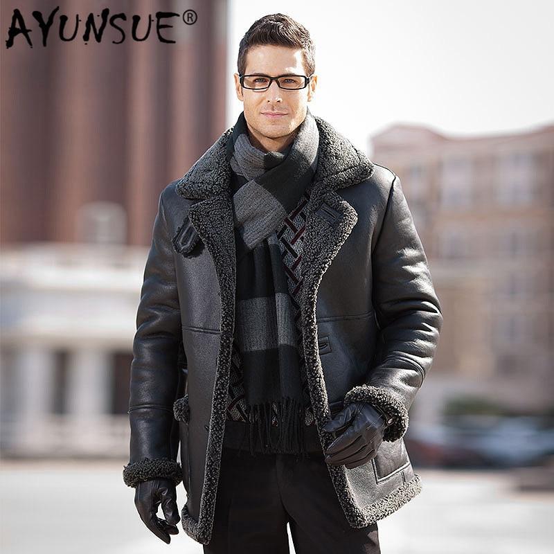 AYUNSUE-سترة شتوية من جلد الغنم الطبيعي للرجال ، معطف من جلد الغنم ، ST14A2508 KJ3629
