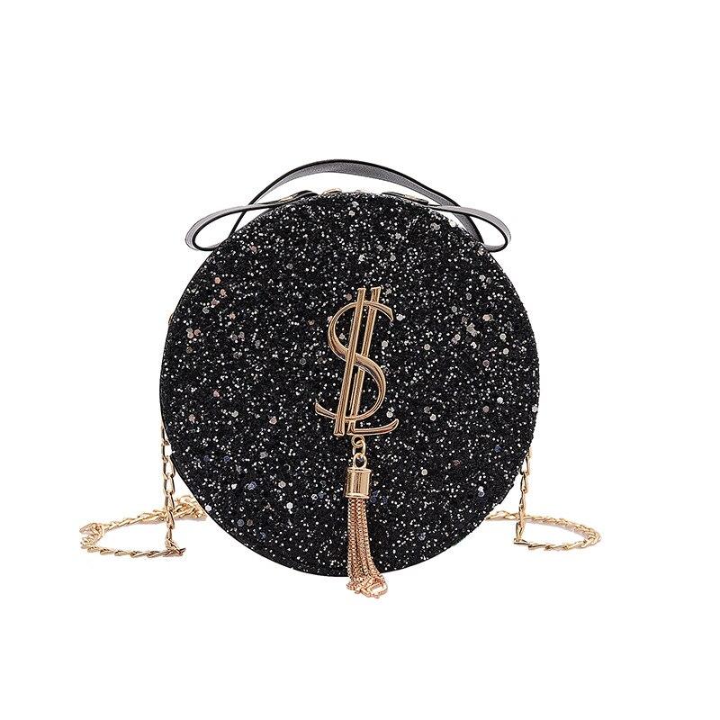 Маленькие Блестящие ручные сумки 2021, женские новые модные круглые кошельки, ручные сумки, сумочка
