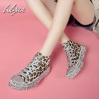 leopard print canvas sneakers for women rhinestone sequin flat female vulcanized shoes low high top woman canvas shoes 35 43