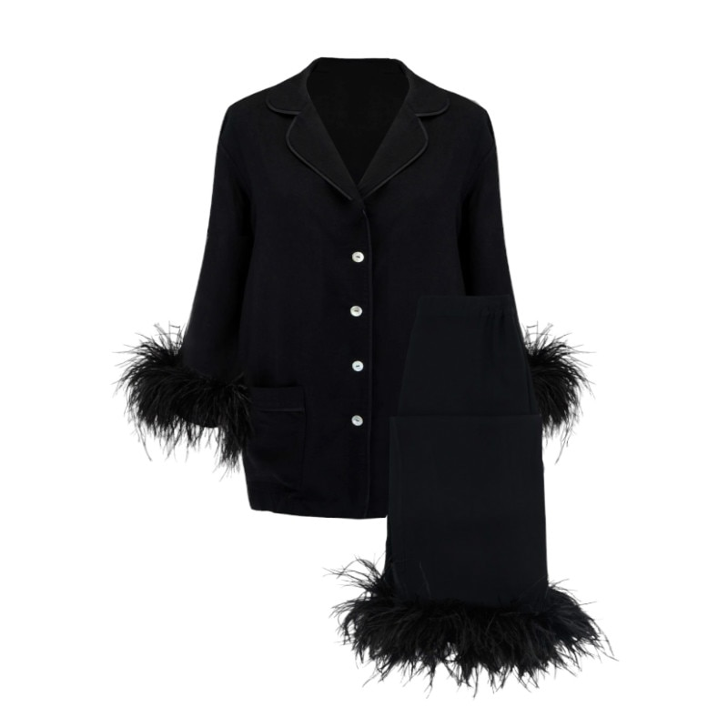 New cute silk cotton light luxury ostrich wool pajamas two-piece suit