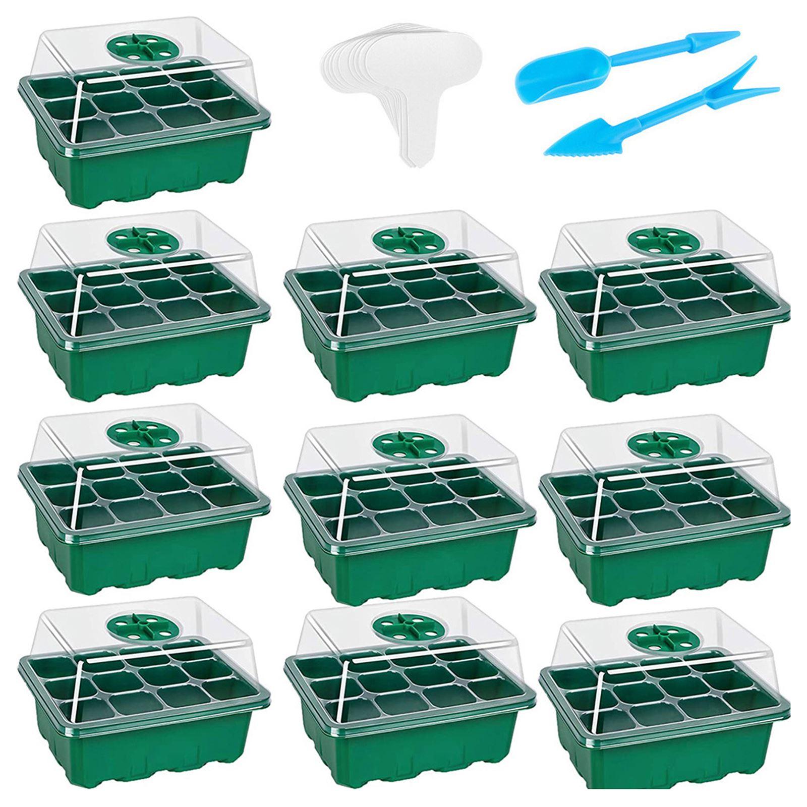 13 قطعة علبة للإنبات النباتية مجموعة 12 خلايا الشتلات بداية صواني عدة مع غطاء الرطوبة وقاعدة لإنبات بذور الدفيئة