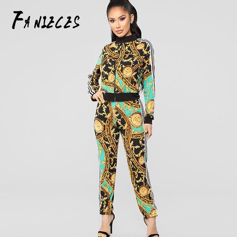 Luxury Runway Two Piece Set ins fashion Women Golden Baroque Printed Zipper Jacket Coat Tops + Bodycon Pants Tracksuit Suit Wear