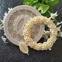 rose garland leaf silicone molds wedding cupcake topper fondant cake decorating tools sugar craft candy clay chocolate moulds