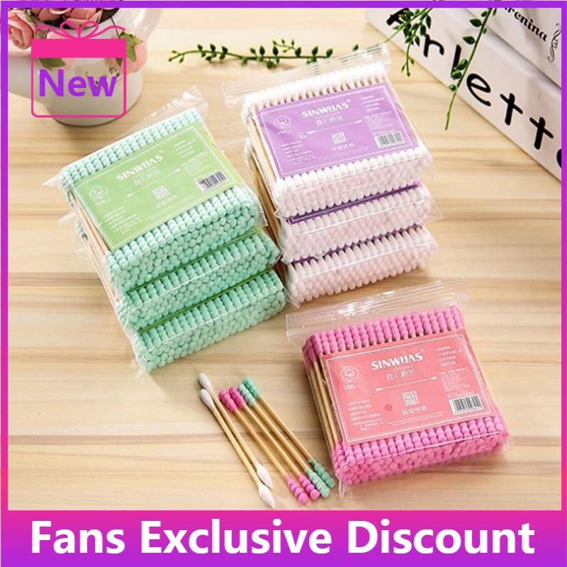 2021 New 100pcs/bag Double Head Cotton Swabs Nose Ears Cleaning Wood Cotton Swabs Women Makeup Dispo