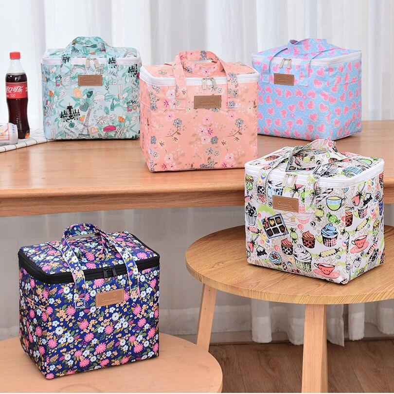 Portable lunch bag for women cartoon kids Convenient bento cooler bag flamingo thermal breakfast food box picnic travel Tote