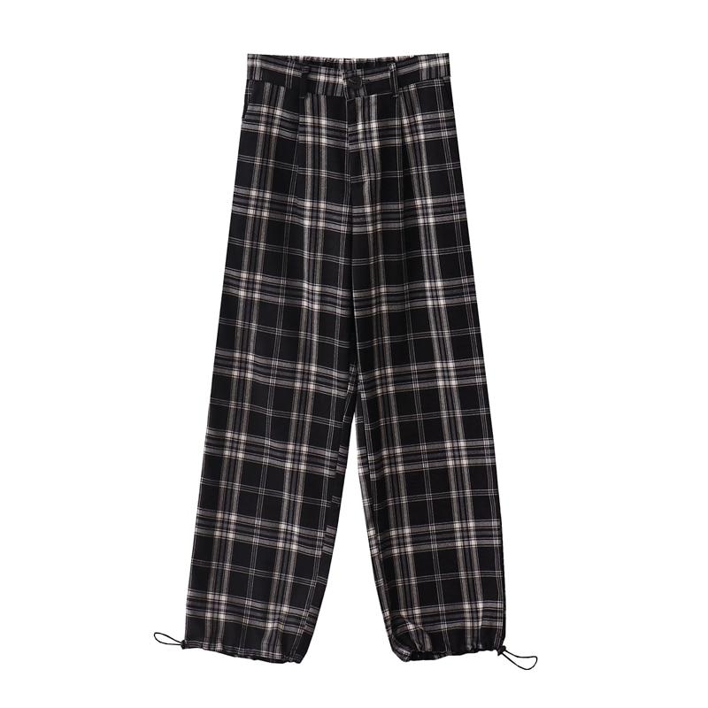 Осенне-зимние женские клетчатые повседневные брюки с высокой талией, свободные и тонкие ретро комбинезоны, повседневные клетчатые брюки дл...