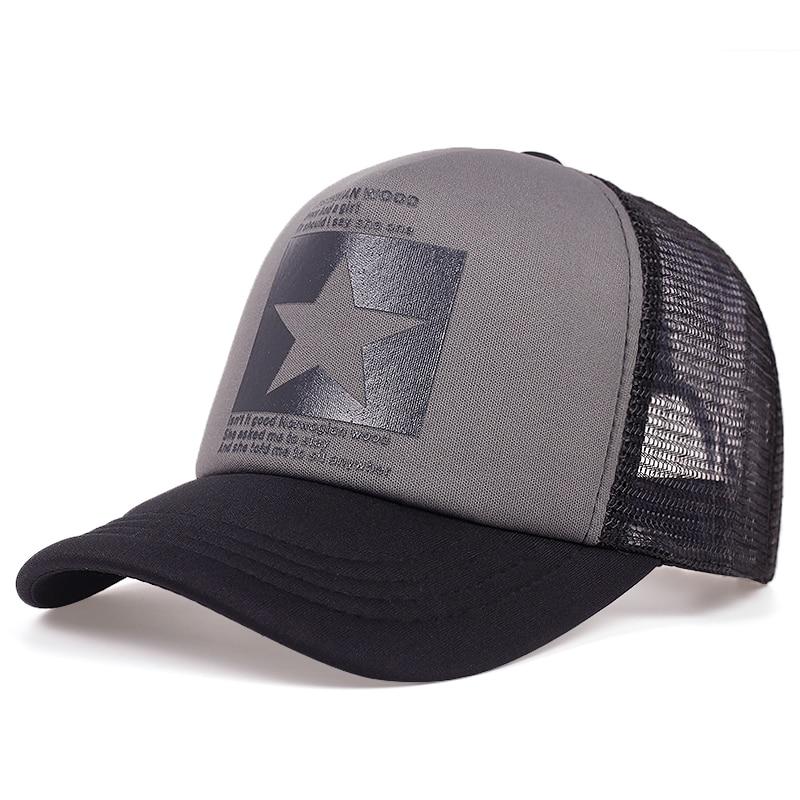 Gorra de béisbol con estampado de estrellas de cinco puntas, gorras de malla transpirables para primavera y verano, gorra parasol para exteriores ajustable para hombre y mujer