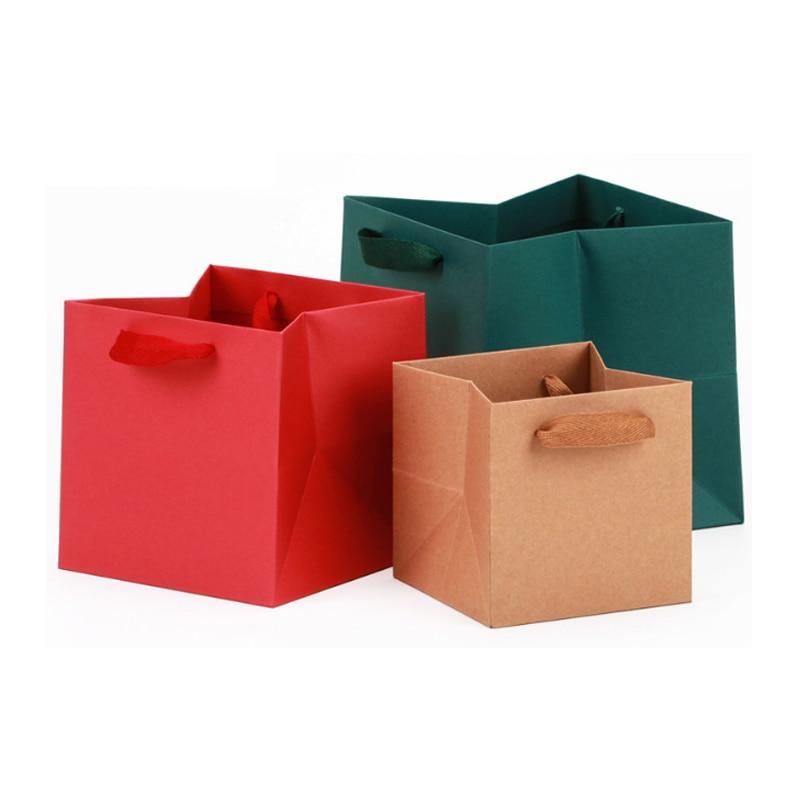 Cuadrado bolsas de papel bolsa de regalo de Navidad bebé ducha cajas...
