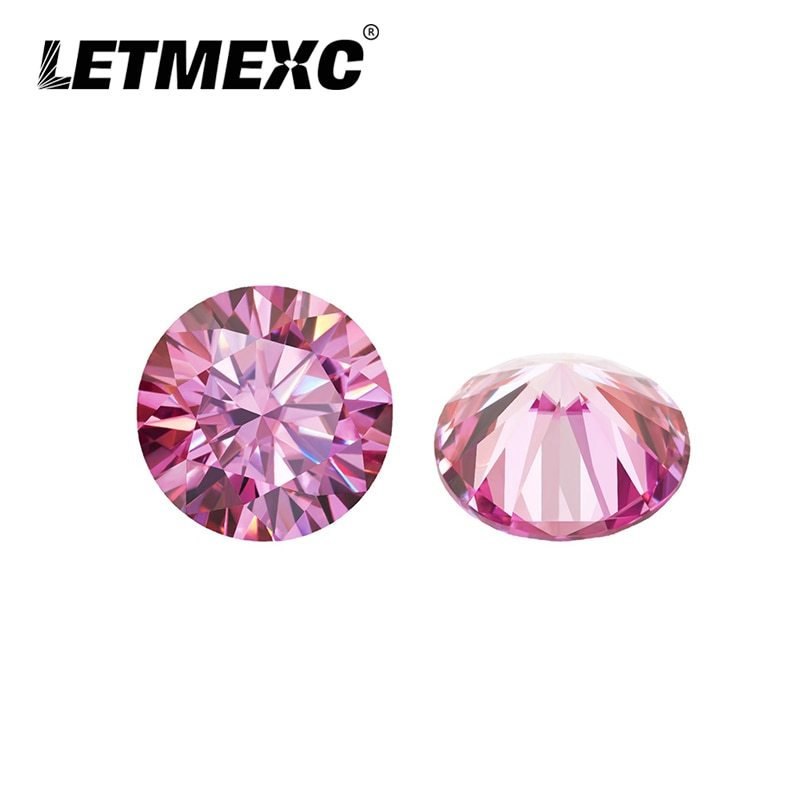 Letmexc Loose Pink Moissanite Diamond Gemstone D Color VVS1 Excellent Round Cut for Diamond Ring