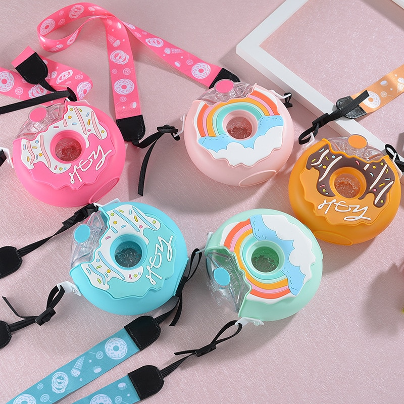 Kids Water Bottle With Straw Creative Rainbow Cute Donut Kettle Cup Outdoor Anti fall Portable Strap
