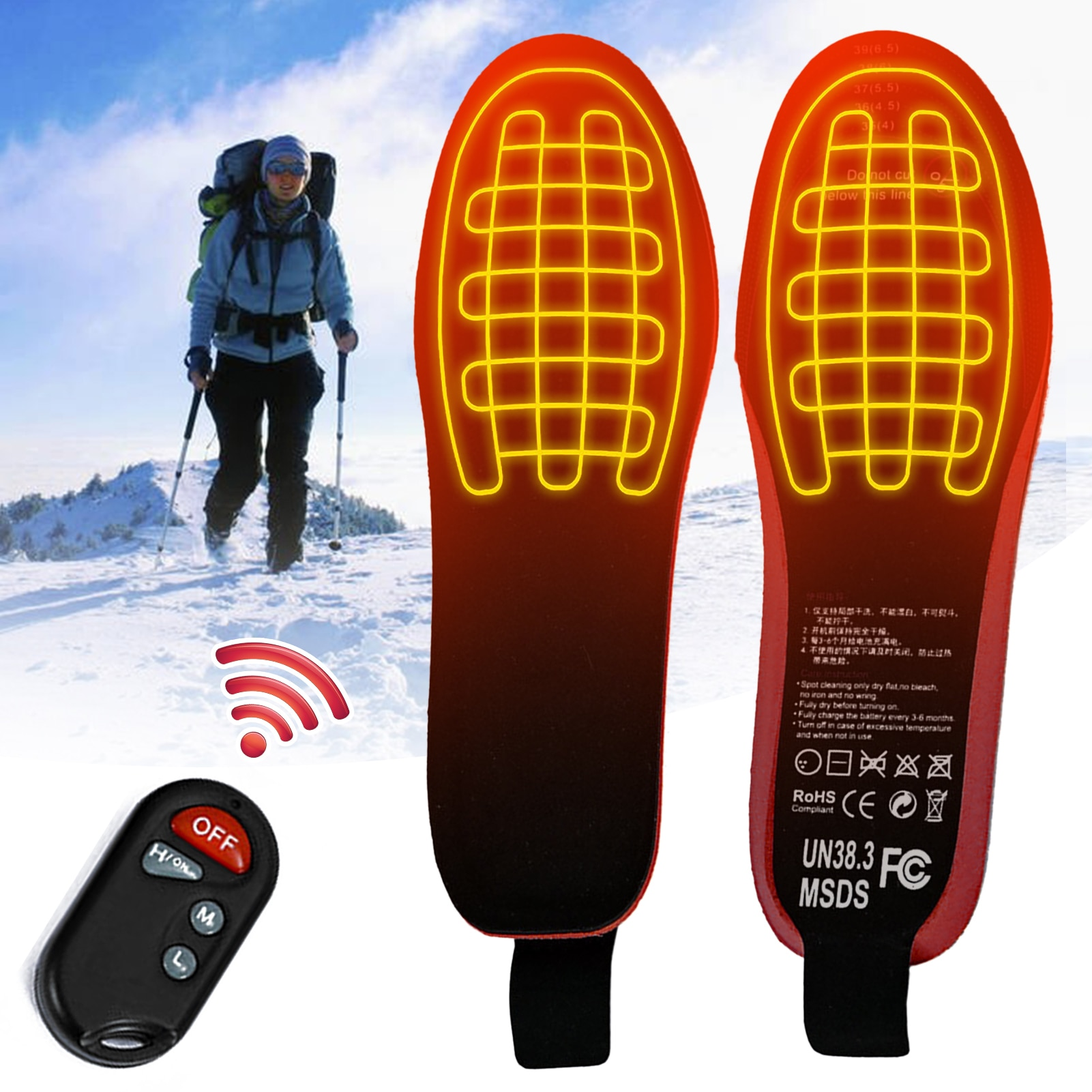 USB Heated Shoe Insoles Remote Control 3.7V 2100MA Heating Insoles Rechargeable Electric Heated Insoles Warm Sock Pad Mat