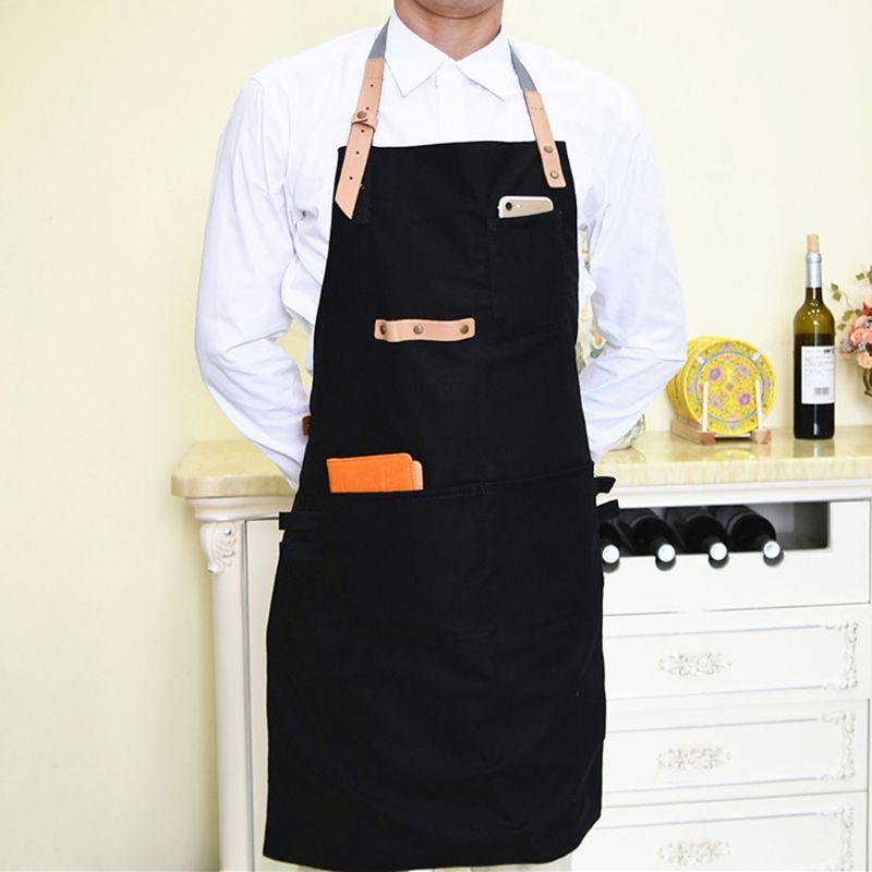 2020 hombres mujeres cocina restaurante Chef ajustable babero delantal vestido con bolsillo capa para pelo