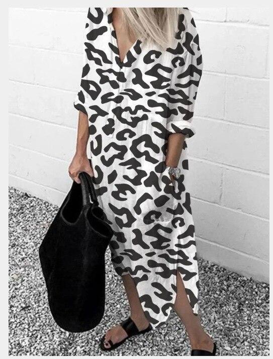Leopardo estampado vestido de manga comprida feminino primavera e outono manga comprida solto lounge wear moda streetwear festival roupas