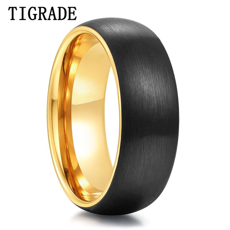 Tigrade, nuevo anillo negro de tungsteno puro para hombres, anillo clásico cepillado de compromiso para boda, anillo de oro para el interior de 8mm, anillos femeninos para hombre