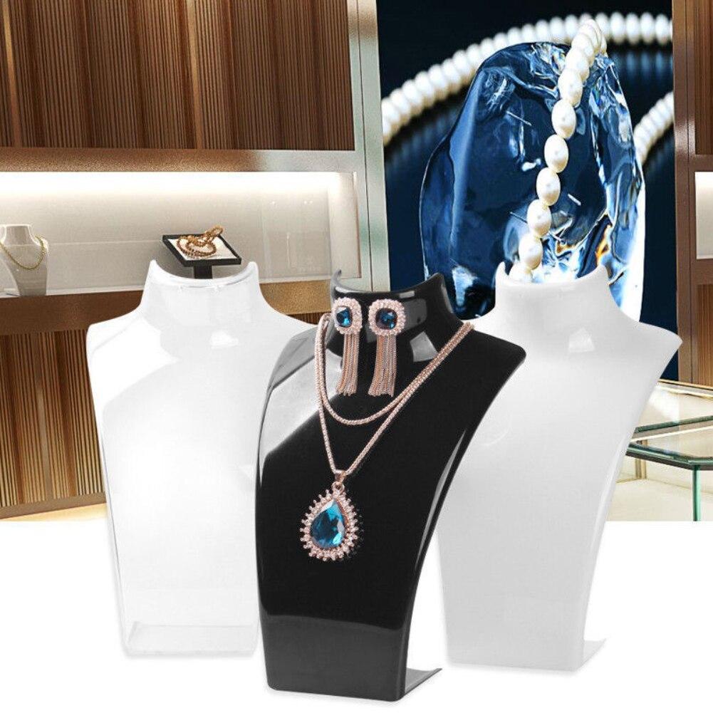 Colar de jóias brincos de plástico manequim busto expositor organizador titular colar expositor de jóias de plástico display