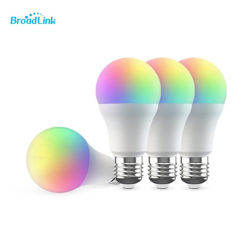 لمبة BroadLink LB R1 RGB الذكية ، wi-fi ، E26 ، E27 ، 4 قطع ، يعمل مع Google Home