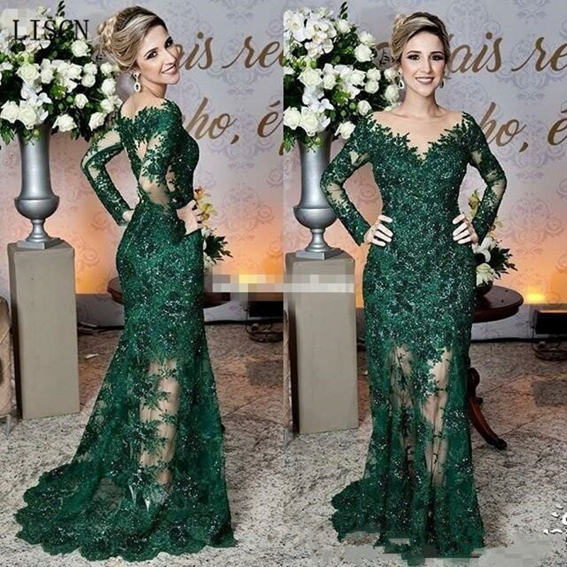 Sparkly Wedding Dresses Long Illusion Sleeve Vintage Dark Green Mother of The Bride Dresses Lace App