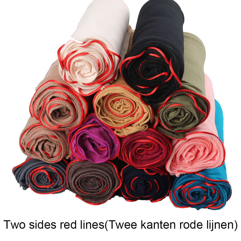 2 redline soild color stretch jersey cotton scarf hijab for muslim  female head wrap scarves turban foulard femme musulman 2020 new muslim women stretch rippled jersey scarf hijab islamic soild cotton headscarf arab wrap head scarves hijab femme
