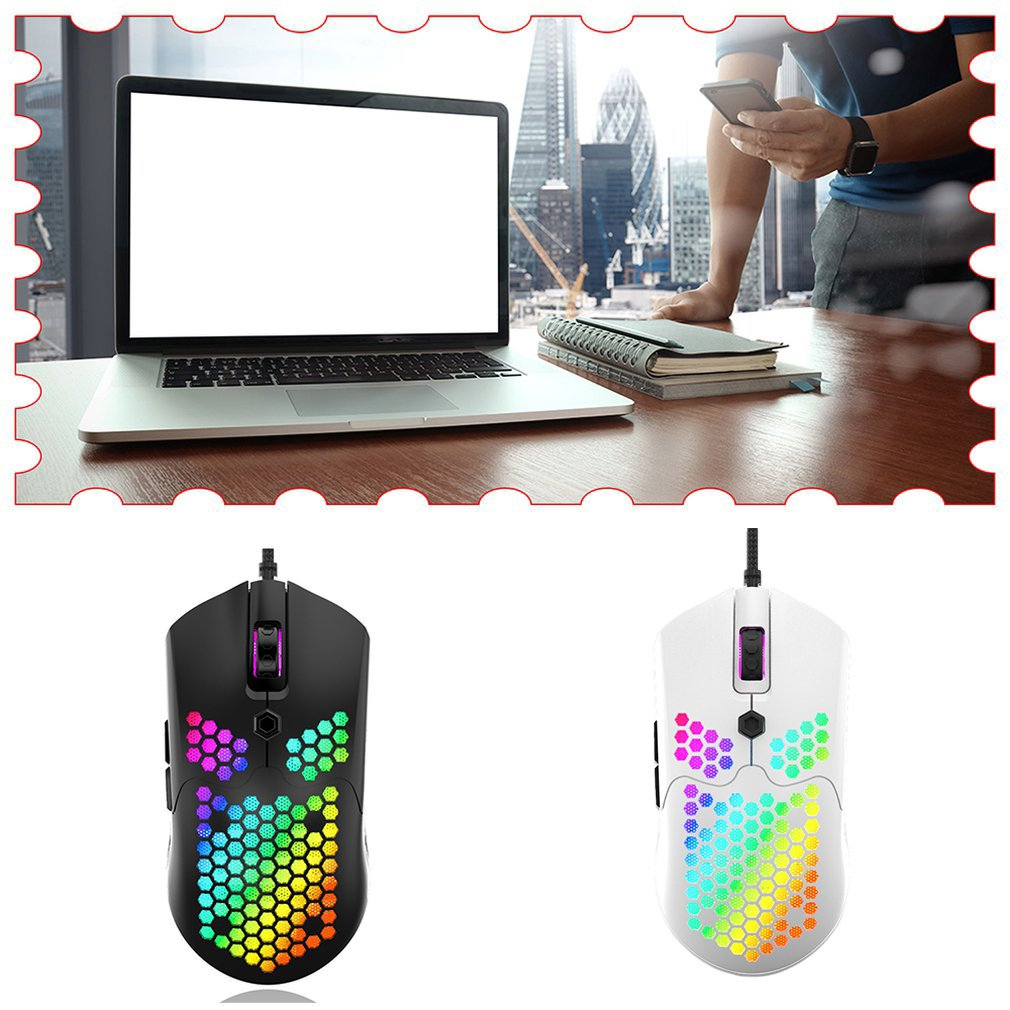 Hollow-Out Honeycomb Shell Gaming Mouse Colorful Backlit Light Wired Mice With 7 Buttons Game Computer honeycomb mouse enlarge