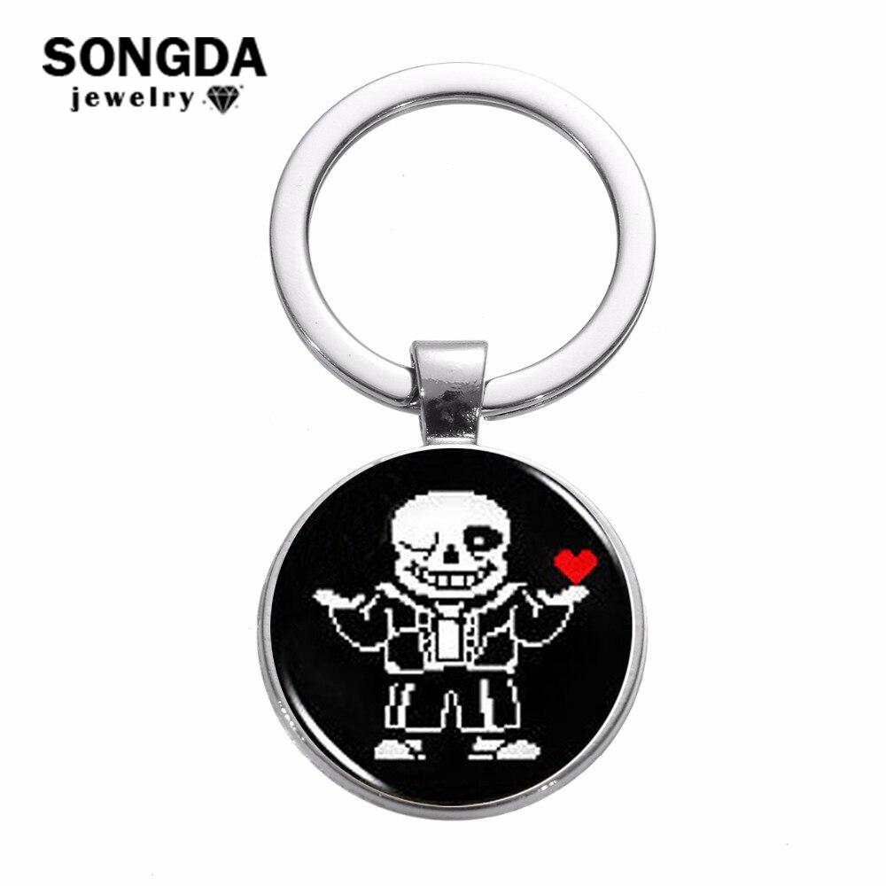 SONGDA jeu Undertale Sans porte-clés dessin animé Pixel Figure 3D imprimé verre dôme pendentif porte-clés ornement argent plaqué porte-clés