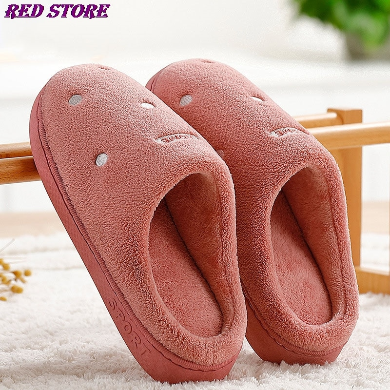 New Men Women Solid Comfy Plush Indoor Slippers Casual Soft Warm Home Flat Shoes