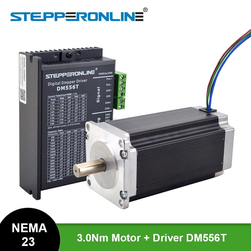 STEPPERONLINE Nema 23 محرك متدرج 3 نانومتر 4.2A 113 مللي متر Nema23 موتور مع سائق DM556T لآلة الطحن والنقش CNC