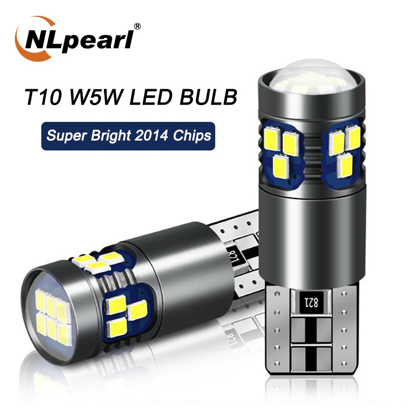 NLpearl 2x Car Signal Lamp T10 W5W Led Canbus Bulbs 18SMD 2014 Chips 168 194 Interior Reading Light Wedge Side Lamps 12V