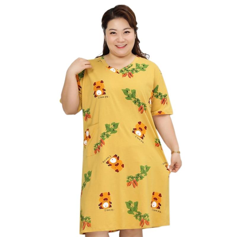 فستان نوم ياباني جذاب مقاس كبير للنساء 5XL XXXXXL 100% قطن ملابس نوم داخلية نسائية غير رسمية برقبة على شكل v فستان نوم للأمهات في الصيف