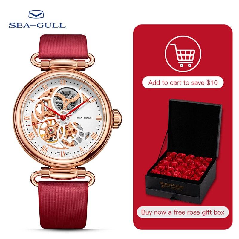 Seagull watch ladies automatic mechanical watch fashion belt waterproof hollow watch time goddess Roman numeral 6002L
