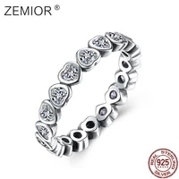 zenior 925 sterling silver for women heart finger ring cute love cubic zirconia vintage rings engagement wedding fine jewelry