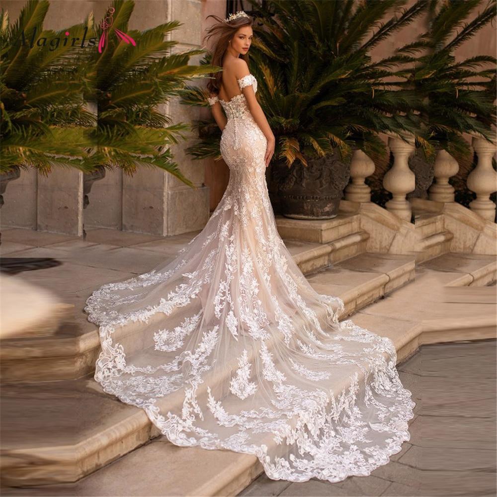 Get Off The Shoulder Wedding Dresses Lace Ivory Wedding Party Dress Mermaid Chapel Train Wedding Dresses For Bride robes de mariage