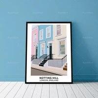 affiche darchitecture notting hill londres angleterre pastel illustration impression d%c3%a9corative toile maison affiche