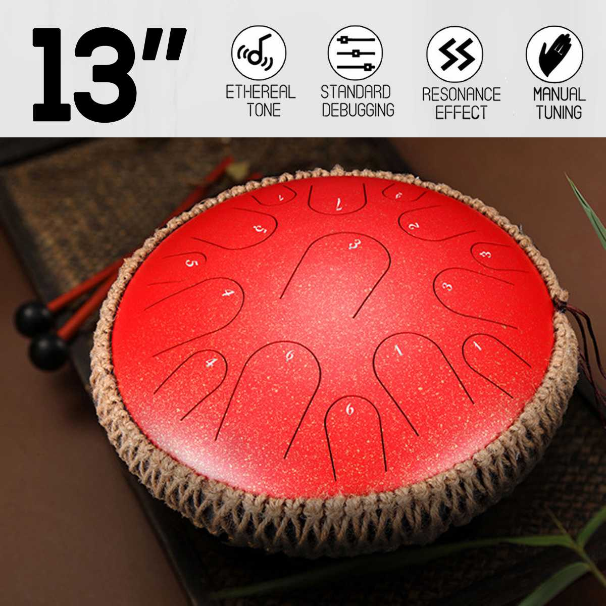 Manual hecho A mano de 13 pulgadas, Mini tambor de percusión de lengua de acero de 15 tonos, instrumento manual con bolsa de transporte, instrumentos musicales