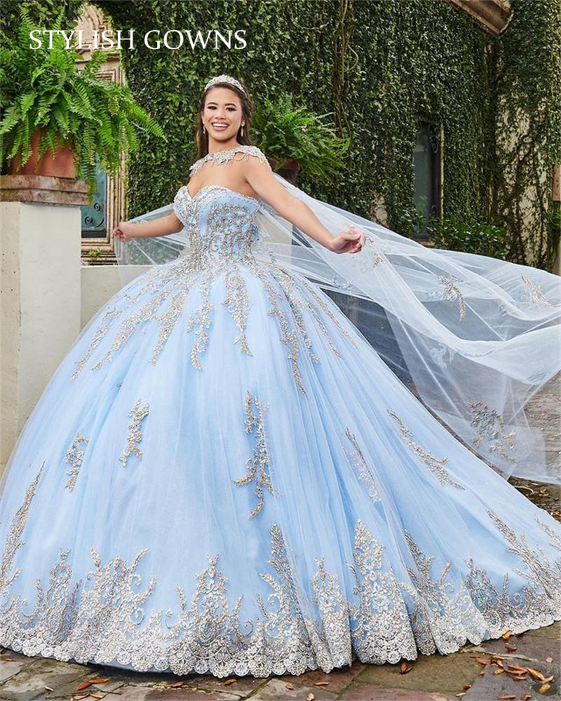 السماء الزرقاء كرة مطرزة ثوب الأميرة الحلو 16 فستان فساتين Quinceanera الحبيب Vestidos دي 15 Años 2021