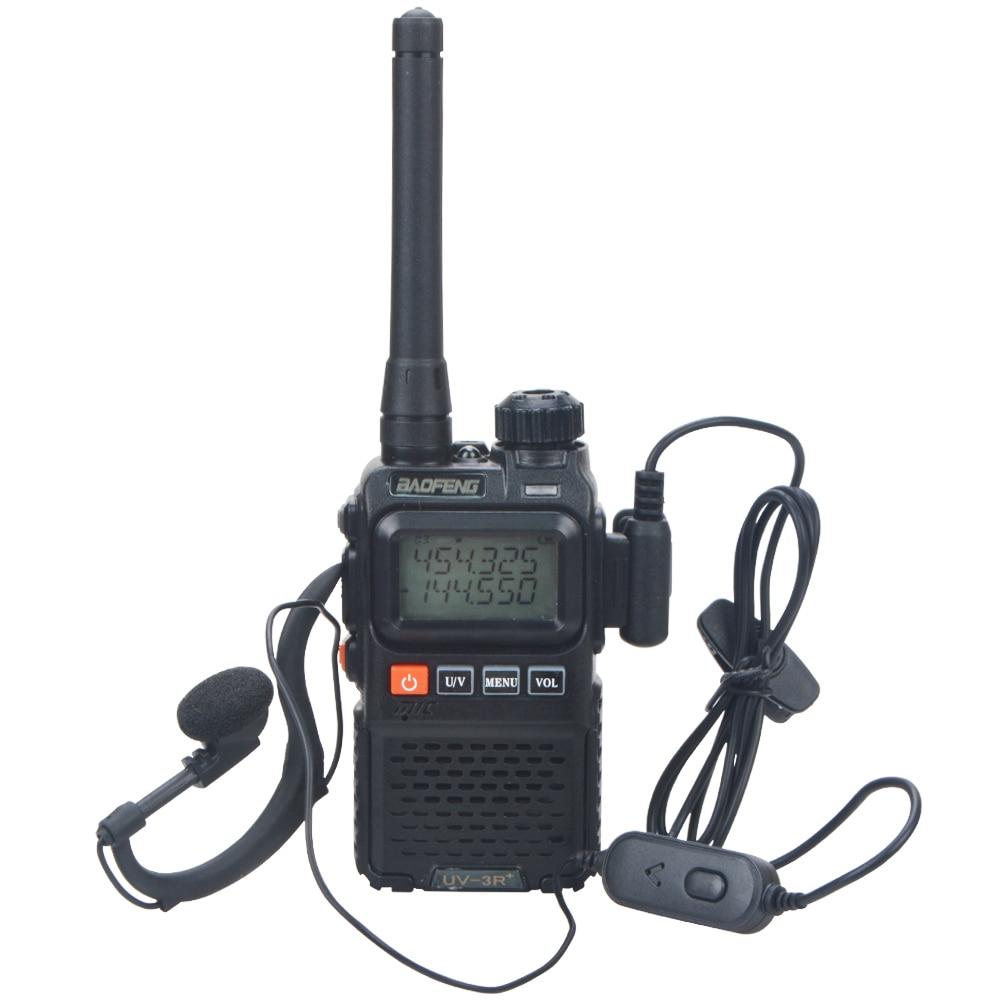BaoFeng UV-3R + برو فائقة المدمجة UHF VHF ثنائي النطاق صغير محمول VOX FM اسلكية تخاطب أسود اللون