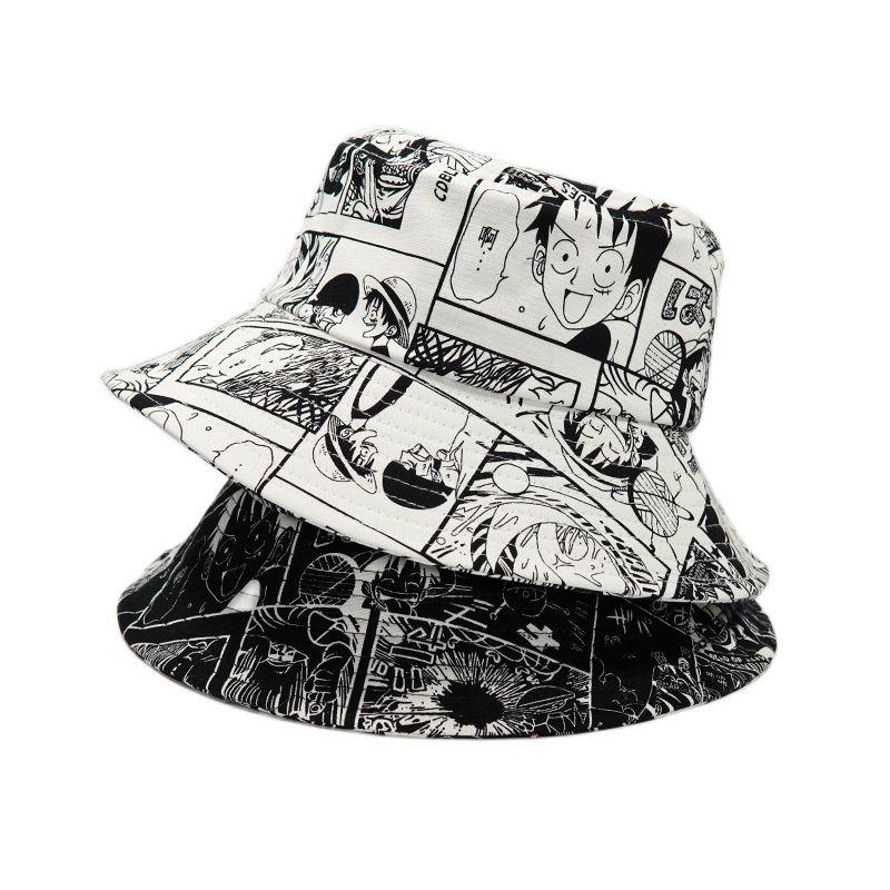 Summer Fisherman Hat Reversible Printed Bucket Hats For Women Men Anime ONE PIECE Cosplay Bucket Cap Cartoon Shading Fishing Hat недорого