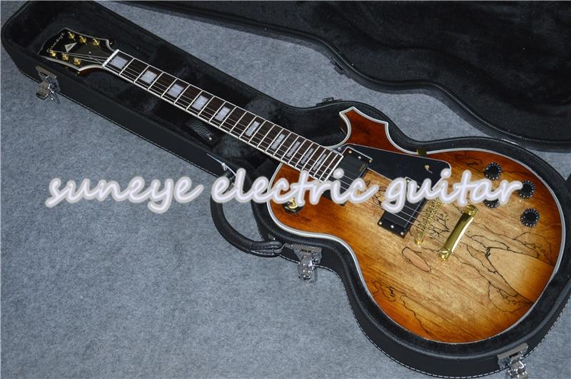 Suneye China, madera Natural, acabado brillante, personalizado, Guitarra eléctrica, incrustado en Perla,...