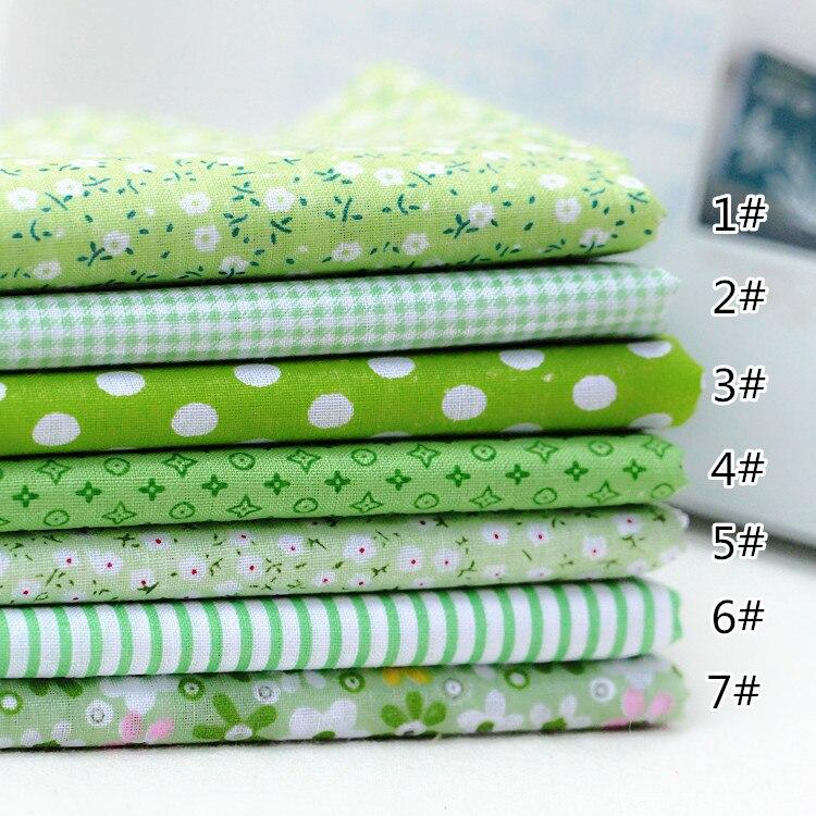 7 DIY hecho a mano tela para colchas de Luz Verde Sistema de algodón liso 25*25CM/50X50CM