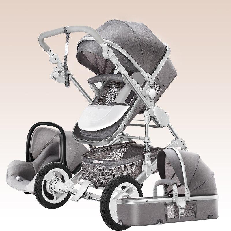 Luxury Baby Stroller and Cradle High Landscape Baby Stroller 3 in 1 Travel Pram Trolley Baby Carriage Stroller for Newborn