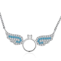 zemior cute angel wings pendant necklaces sterling silver 925 jewelry clear cubic zirconia semi precious stones necklace