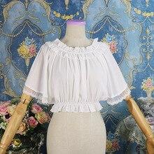 Mousseline blanche & dentelle volants col rond manches chauve-souris courte douce Lolita Blouse Vintage gothique chemise victorienne Steampunk vêtements