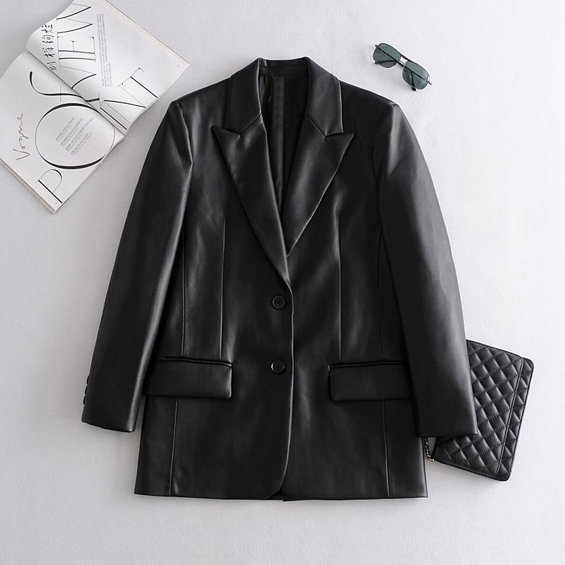سترة جلدية نسائية طويلة من البولي يوريثان ، معطف ، ملابس خارجية ، ملابس جلدية ، مجموعة جديدة ، 2021