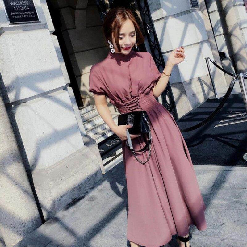 Novo verão elegante senhoras vestido longo coreano moda cintura fina de manga curta chiffon vestido feminino primavera