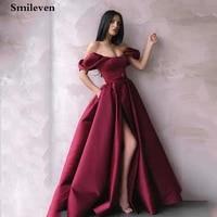 smileven plus size prom dresses a line satin princess front split formal evening dresses off the shoulder party gowns