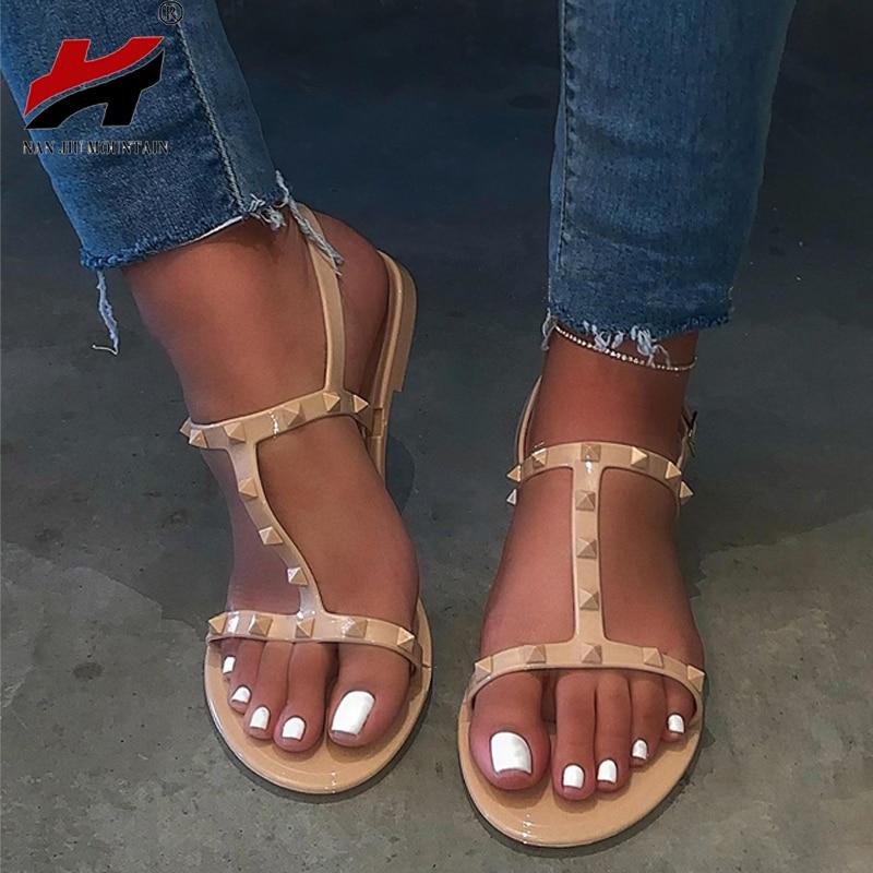 NAN JIU MOUNTAIN fashion Buckle-strap Sandals Women's shoes Summer Sandals Gladiator  Studded Rivet Flat Women platform Shoes
