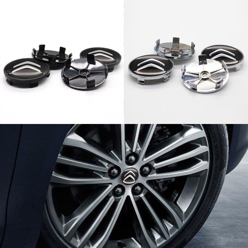Автомобильные детали, 4 шт., 60 мм, крышка ступицы колеса, наклейка на Центральное колесо, логотип автомобиля, подходит для Citroen-Персонализиров...
