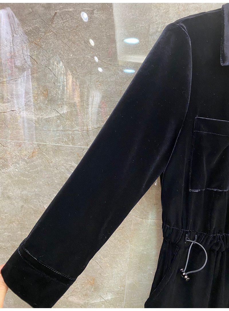 2021 Autumn Fashion Jumpsuits High Quality Velvet Women Turn-down Collar Chest Pocket Deco Drawstring Waist Long Sleeve Jumpsuit enlarge