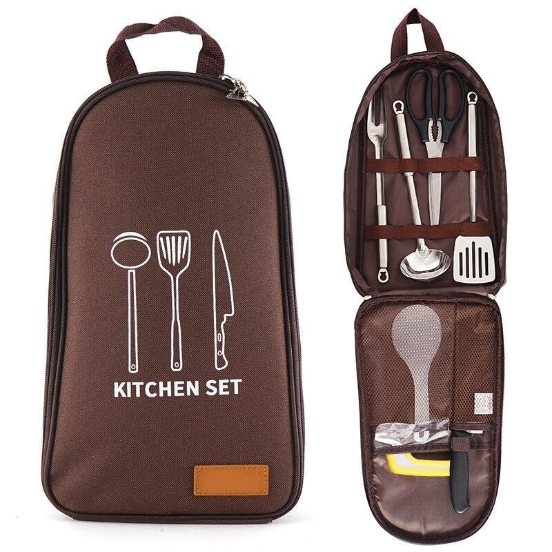 مجموعة أدوات المطبخ للتخييم ، مجموعة أدوات الشواء ، أدوات المطبخ المحمولة ، الشواء ، التخييم ، السفر في الهواء الطلق ، ZJ55 ، 7 قطعة/المجموعة/مج...