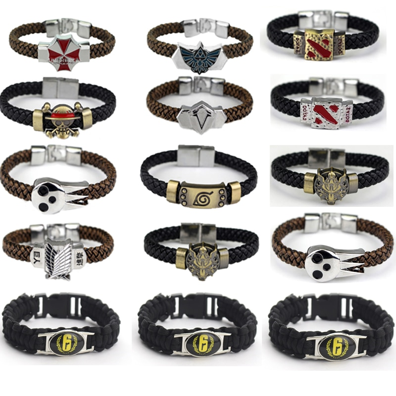 Black Rainbow Six Siege FPS Cosplay bBracelet Hand Knitted Gothic Punk Pendant Bracelet Unisex Fashion Jewelry Bijoux